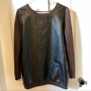 Halogen Sweaters - Halogen Brown Sweater Faux Leather Front